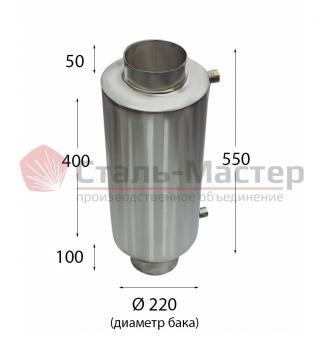 Теплообменник на трубе — 130 —  AISI 430 — h=550мм