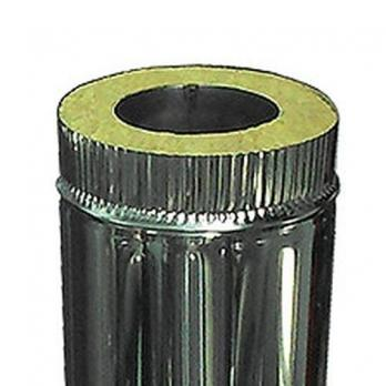 Сэндвич-труба — 0,5 м — 110 / 200 — Нерж 1 мм / Нерж 0,5 мм
