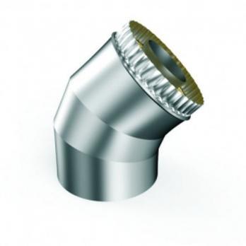 Сэндвич-отвод 45° — 150 / 220 — Нерж 1 мм / Нерж 0,5 мм
