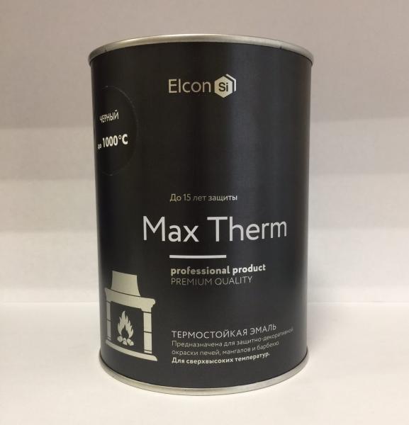 """Эмаль термостойкая """"ELCON"""" до 1000 гр. 0,8 кг. чёрная"""