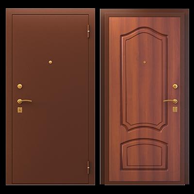 """Дверь мет. """"Трехконтурная ПФ Классика"""" Медь/итал. орех  лев/прав"""