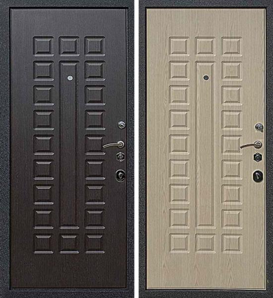 """Дверь мет. """"Вафля"""" Венге/бел. дуб  лев/прав"""