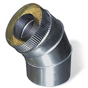 Сэндвич-отвод 45° — 100 / 200 — Нерж 0,5 мм / Оцинковка