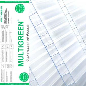 Поликарбонат Мультигрин прозрачный 6000х2100х4 (0,48 кг/м2)