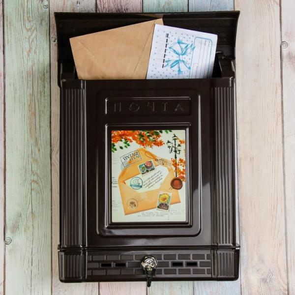 Ящик почтовый Декор с замком корич. Винтаж