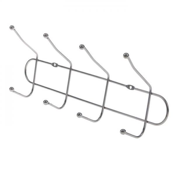 Вешалка настенная 4 двойных крючка 31х7х12 см