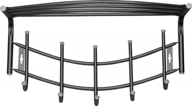 Вешалка Ника-Премиум4 с полкой 525х270х220 мм (5 крючков) черная ВНП4