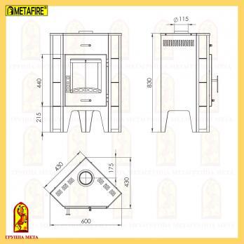 Стальная печь-камин Пехорка 6 угловая