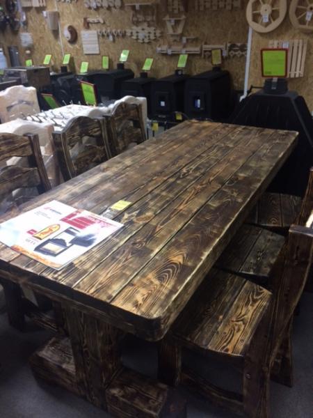 Набор Рош-Фор стол (1800х760х760)+ 6 стульев (тёмный)