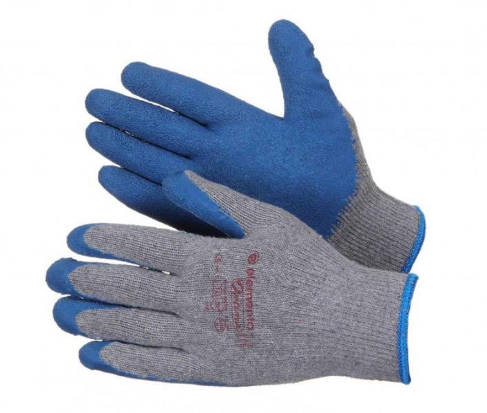 Перчатки ХБ 15 класс с толстым слоем вспененного латекса 10р.