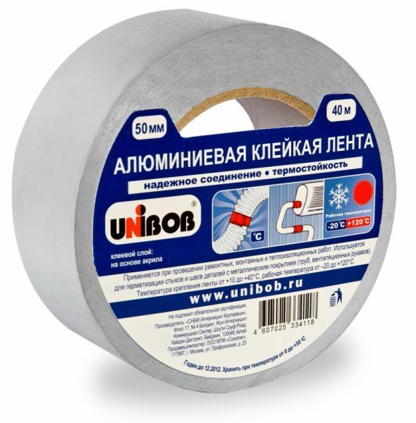 Скотч алюминиевый 50мм*10м UNIBOB