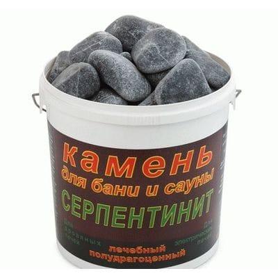 """Камень для бани """"Серпентинит """"Черный принц"""" шлифованный (ведро 10кг)"""