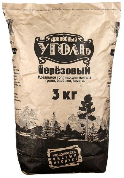 Уголь Древесный берёзовый 3 кг.
