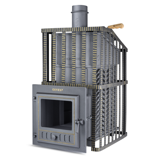 Чугунная печь для бани Гефест Ураган ЗК (ПБ-03МС-ЗК Ураган) 28 м3