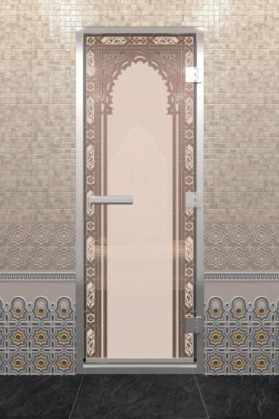 Дверь «Хамам Восточная Арка Бронза Матовая»