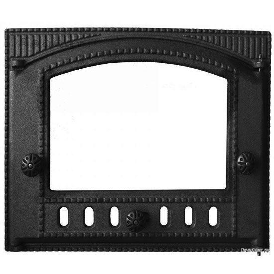 Дверца каминная ДТК-2С Р крашенная+стекло